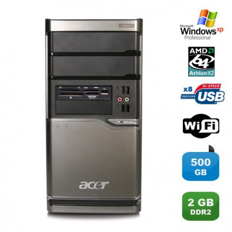 PC ACER Veriton M420 Athlon X2 4850B 2.5Ghz 2Go 500Go Graveur WIFI Win XP pro