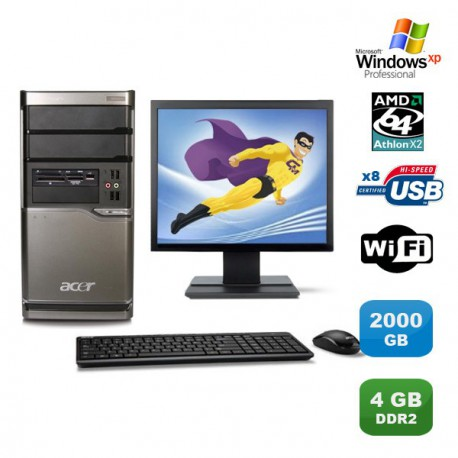 Lot PC ACER M420 Athlon X2 4850B 2.5Ghz 4Go 2000Go Graveur WIFI XP Pro +Ecran 19