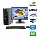 Lot PC DELL Optiplex 740 SFF Athlon 2.7GHz 2Go 2000Go WIFI DVD XP Pro + Ecran 22
