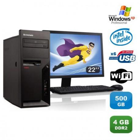 "Lot PC IBM Lenovo M55E 9389-CTO Pentium D 3Ghz 4Go 500Go WIFI XP Pro + Ecran 22"""
