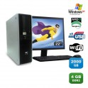 "Lot PC HP Compaq DC5750 SFF AMD Sempron 2Ghz 4Go 2000Go WIFI XP Pro + Ecran 22"""