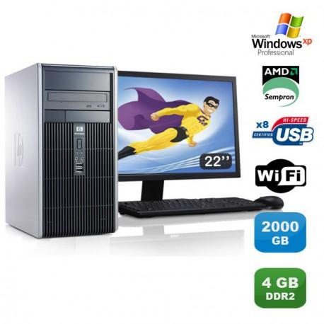 """Lot PC HP Compaq DC5750 Tour AMD Sempron 2Ghz 4Go 2000Go WIFI XP Pro + Ecran 22"""""""