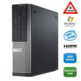 [GRADE X] PC DELL Optiplex 390 DT G630 2.7Ghz 4Go 250Go DVD HDMI Win 7 Pro