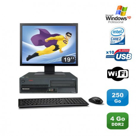 Lot PC Lenovo M55 8810 Intel E4300 1.8Ghz 4Go 250Go WIFI Win Xp Pro + Ecran 19""