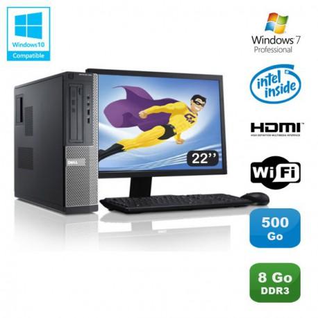 Lot PC DELL Optiplex 390 DT G630 2.7Ghz 8Go 500Go Graveur WIFI W7 Pro + Ecran 22