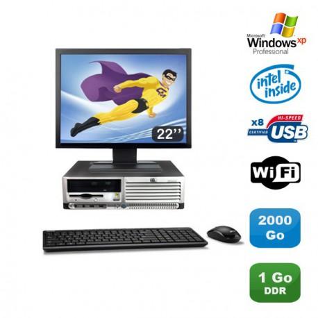 "Lot PC HP Compaq DC7100 SFF Pentium 4 HT 2.8Ghz 1Go DDR 2To Xp Pro + Ecran 22"""