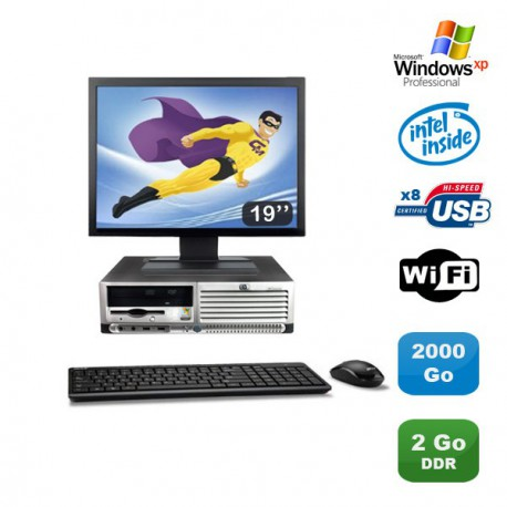 "Lot PC HP Compaq DC7100 SFF Pentium 4 HT 2.8Ghz 2Go DDR 2To Xp Pro + Ecran 19"""