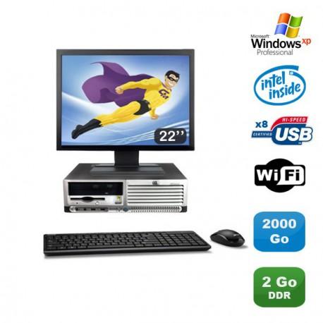 "Lot PC HP Compaq DC7100 SFF Pentium 4 HT 2.8Ghz 2Go DDR 2To Xp Pro + Ecran 22"""