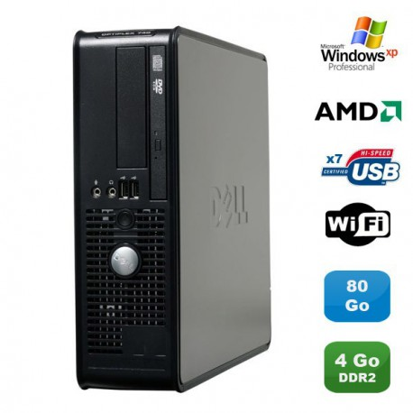 PC DELL Optiplex 740 SFF AMD Athlon 64 2.7GHz 4Go DDR2 80Go WIFI DVD Win XP Pro