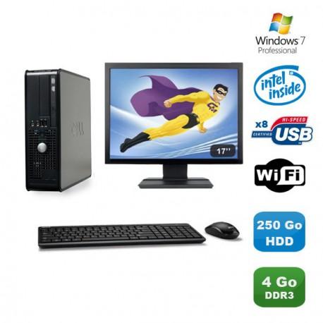 """Lot PC DELL Optiplex 380SFF Pentium D E6300 2.8Ghz 4Go 250Go WIFI Win 7 Pro +17"""""""