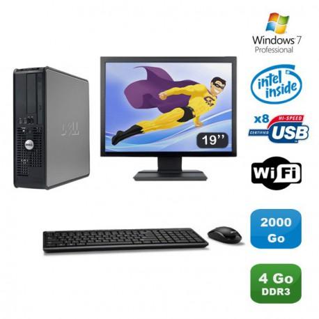 """Lot PC DELL Optiplex 380SFF Pentium D E6300 2.8Ghz 4Go 2 To WIFI Win 7 Pro +19"""""""