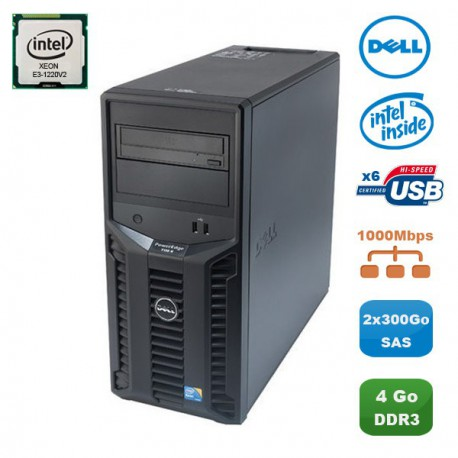 Serveur DELL PowerEdge T110II Xeon Quad Core E3-1220V2 3.1Ghz 4Go 2x300Go SAS