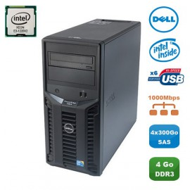 Serveur DELL PowerEdge T110II Xeon Quad Core E3-1220V2 3.1Ghz 4Go 4x300Go SAS