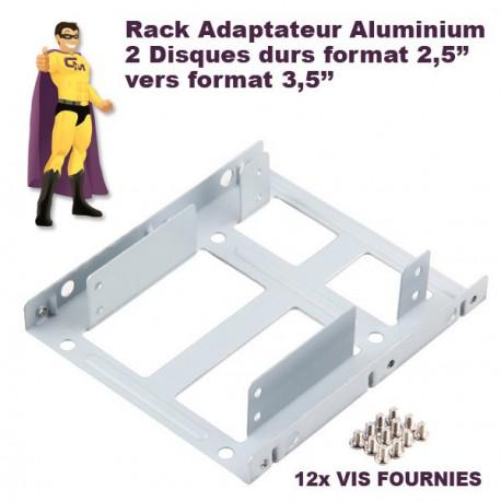 "Rack adaptateur 2 Disques 2.5"" vers 3.5"" aluminium VIS FOURNIES HDD SSD BRACKET"