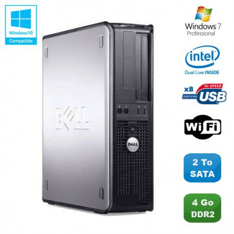 PC DELL Optiplex 760 DT Intel Dual Core E5200 2,5Ghz 4Go DDR2 2000Go WIFI Win 7