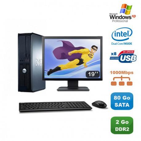 "Lot PC DELL Optiplex 760 DT Dual Core E5200 2,5Ghz 2Go 80Go XP Pro + Ecran 19"""