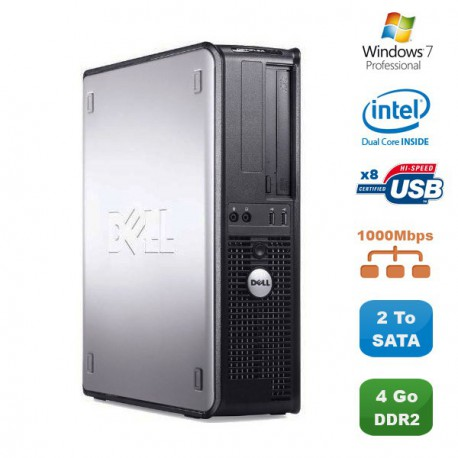 PC DELL Optiplex 760 DT Intel Dual Core E5200 2,5Ghz 4Go DDR2 2To SATA Win 7