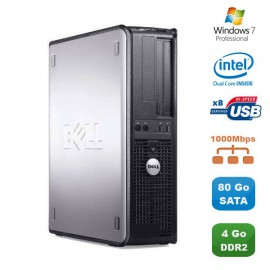 PC DELL Optiplex 760 DT Intel Dual Core E5200 2,5Ghz 4Go DDR2 80Go Win 7 Pro