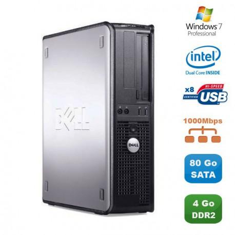 PC DELL Optiplex 760 DT Intel Dual Core E5200 2,5Ghz 4Go DDR2 80Go Win 7 Pro