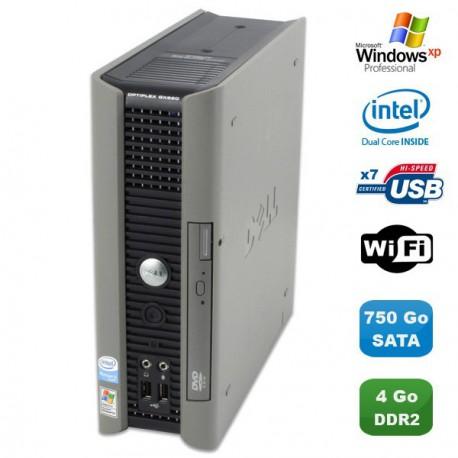 Ultra Mini Pc DELL Optiplex Gx620 Usff Pentium D 2,8Ghz 4Go DDR2 750Go WIFI XP