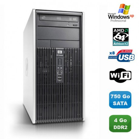 PC HP COMPAQ DC5850 MT AMD Athlon 64 X2 2.6Ghz 4Go 750Go Graveur WIFI Win XP Pro