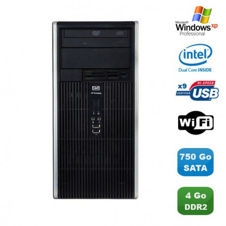 PC HP COMPAQ DC5700 MT Intel Pentium D 1.8Ghz 4Go 750Go Graveur WIFI Win XP Pro