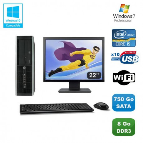 Lot PC HP Elite 8100 SFF Intel Core i5 3.2GHz 8Go 750Go Graveur WIFI W7 Ecran 22