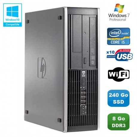 PC HP Compaq Elite 8100 SFF Intel Core i5 3.2GHz 8Go 240Go SSD Graveur WIFI W7
