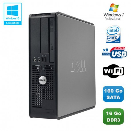 PC DELL Optiplex 780 Sff Core 2 Duo E7500 2,93Ghz 16Go DDR3 160Go WIFI W7 Pro