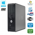 PC DELL Optiplex 780 Sff Core 2 Duo E7500 2,93Ghz 16Go 240Go SSD WIFI Win 7 Pro
