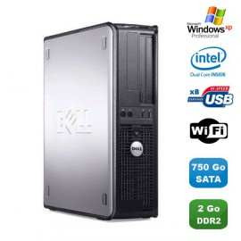 PC DELL Optiplex 760 DT Intel Dual Core E5200 2,5Ghz 2Go DDR2 750 Go WIFI XP Pro