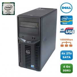 Serveur DELL PowerEdge T110II Xeon Quad Core E3-1220V2 3.1Ghz 4Go 4x2To SATA