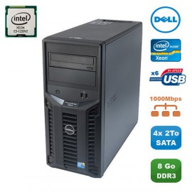 Serveur DELL PowerEdge T110II Xeon Quad Core E3-1220V2 3.1Ghz 8Go 4x2To SATA