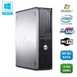 PC DELL Optiplex 760 DT Intel Dual Core E5200 2,5Ghz 4Go DDR2 80 Go WIFI Win 7