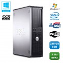PC DELL Optiplex 760 DT Intel E5200 2,5Ghz 4Go DDR2 240Go SSD WIFI Win 7