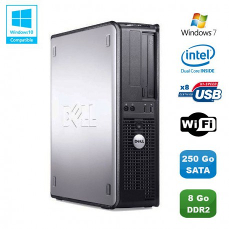 PC DELL Optiplex 760 DT Intel Dual Core E5200 2,5Ghz 8Go DDR2 250Go WIFI Win 7