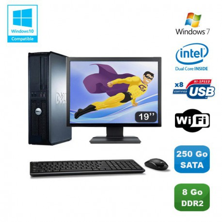 """Lot PC DELL Optiplex 760 DT Intel E5200 2,5Ghz 8Go DDR2 250 Go WIFI Win 7 + 19"""""""