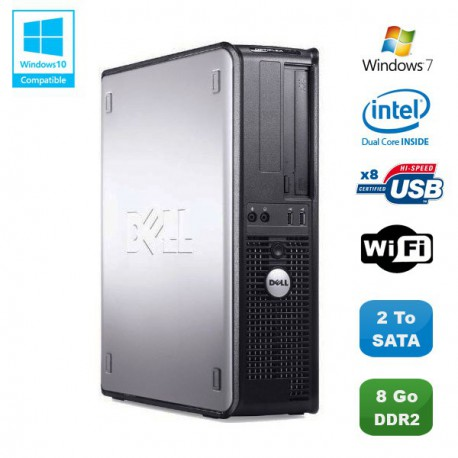 PC DELL Optiplex 760 DT Intel Dual Core E5200 2,5Ghz 8Go DDR2 750Go WIFI Win 7