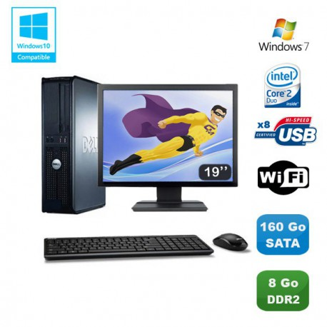 """Lot PC DELL Optiplex 760 DT Intel E8400 3Ghz 8Go DDR2 160 Go WIFI Win 7 + 19"""""""