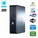 PC DELL Optiplex 760 DT Intel E8400 3Ghz 8Go DDR2 240Go SSD WIFI Win 7