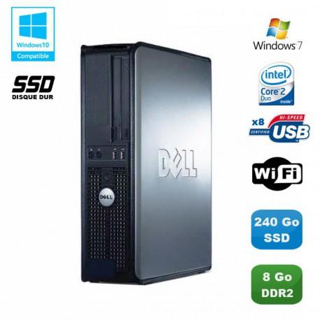 PC DELL Optiplex 760 DT Intel E8400 3Ghz 8Go DDR2 240Go SSD WIFI Win 7