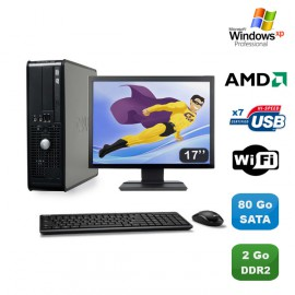 """Lot PC DELL Optiplex 740 SFF Athlon 64 2.7GHz 2Go 80Go WIFI Win XP Pro + 17"""""""