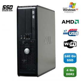 PC DELL Optiplex 740 SFF AMD Athlon 64 2.7GHz 4Go DDR2 240Go SSD WIFI Win XP Pro