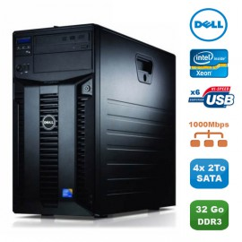 Serveur DELL PowerEdge T310 X3460 2.8Ghz 32Go 4x2To SATA Alimentation Redondante
