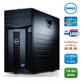 Serveur DELL PowerEdge T310 X3460 2.8Ghz 16Go 1x300Go + 1x2To Alim Redondante