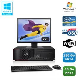 """Lot PC Fujitsu Esprimo E700 E90+ SFF i5 3.1GHz 16Go 250Go Graveur WIFI W7 +22"""""""