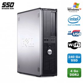 PC DELL Optiplex 360 DT Intel Dual Core E5200 2.5GHz 4Go WIFI 240Go SSD XP Pro