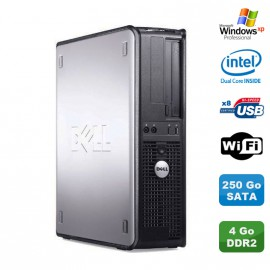 PC DELL Optiplex 360 DT Intel Dual Core E5200 2.5GHz 4Go DDR2 WIFI 250Go XP Pro