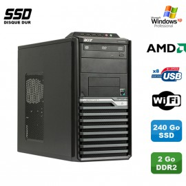 PC ACER Veriton M421G Tour Athlon X2 4850B 2.5Ghz 2Go 240Go SSD WIFI Win Xp Pro