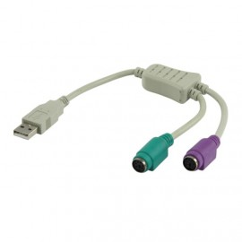 Adaptateur USB A vers 2x PS/2 Femelle Y Clavier Souris Keyboard Mini Din 040860